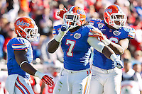 January 02, 2012:  Florida Gators defensive end Ronald Powell (7) celebrates with team mates after a sack during first half action at the 2012 Taxslayer.com Gator Bowl between the Florida Gators and the Ohio State Buckeyes at EverBank Field in Jacksonville, Florida.