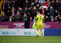 Grimsby Town's James McKeown walks off the pitch after he was shown a red card by referee Mike Dean<br /> <br /> Photographer Chris Vaughan/CameraSport<br /> <br /> The EFL Sky Bet League Two - Lincoln City v Grimsby Town - Saturday 19 January 2019 - Sincil Bank - Lincoln<br /> <br /> World Copyright © 2019 CameraSport. All rights reserved. 43 Linden Ave. Countesthorpe. Leicester. England. LE8 5PG - Tel: +44 (0) 116 277 4147 - admin@camerasport.com - www.camerasport.com