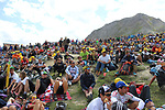 Huge crowds on Col d'Izoard summit during Stage 18 of the 104th edition of the Tour de France 2017, running 179.5km from Briancon to the summit of Col d'Izoard, France. 20th July 2017.<br /> Picture: Andy Brady | Cyclefile<br /> <br /> All photos usage must carry mandatory copyright credit (&copy; Cyclefile | Andy Brady)
