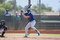 Los Angeles Dodgers infielder Devin Mann (80) at bat during an Instructional League game against the Milwaukee Brewers at Maryvale Baseball Park on September 24, 2018 in Phoenix, Arizona. (Zachary Lucy/Four Seam Images)