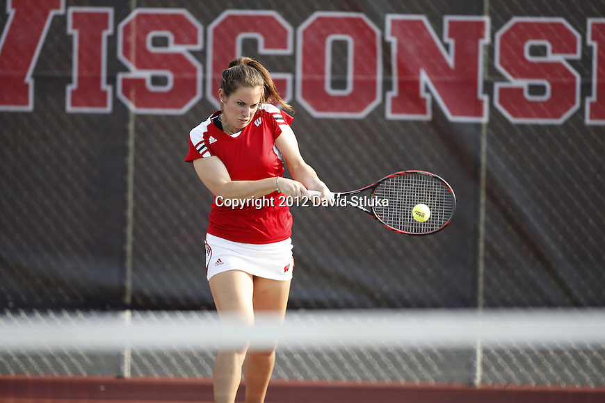 Wisconsin Badgers Hannah Berner of the women's tennis team hits the ball Wednesday, September 5, 2012 in Madison, Wis. (Photo by David Stluka)