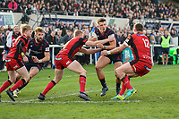 Rob Stevenson of London Scottish on the ball during the Greene King IPA Championship match between London Scottish Football Club and Hartpury RFC at Richmond Athletic Ground, Richmond, United Kingdom on 28 October 2017. Photo by David Horn.