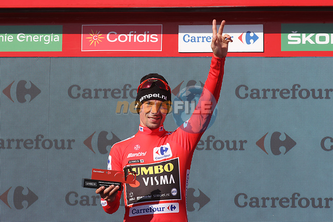 Race leader Primoz Roglic (SLO) Team Jumbo-Visma retains the Red Jersey at the end of Stage 15 of La Vuelta 2019  running 154.4km from Tineo to Santuario del Acebo, Spain. 8th September 2019.<br /> Picture: Luis Angel Gomez/Photogomezsport | Cyclefile<br /> <br /> All photos usage must carry mandatory copyright credit (© Cyclefile | Luis Angel Gomez/Photogomezsport)