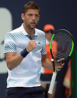 MIAMI GARDENS, FLORIDA - MARCH 23:  Filip Krajinovic day 6 of the Miami Open Presented by Itau at Hard Rock Stadium on Saturday on March 23, 2019 in Miami Gardens, Florida<br /> <br /> People: Filip Krajinovic