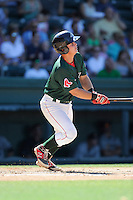 Catcher David Sopilka (12) of the Greenville Drive bats in a game against the Charleston RiverDogs on Sunday, June 28, 2015, at Fluor Field at the West End in Greenville, South Carolina. Charleston won, 12-9. (Tom Priddy/Four Seam Images)