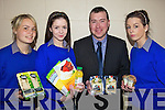 FOODS: Students of Presentation Secondary School in Milltown last Thursday with some of the products on offer during their Healthy Eating Week, l-r: Chloe Gordon, Siobha?n O'Sullivan, Phil Healy (Kerry Group, sponsors), Grace O'Shea.