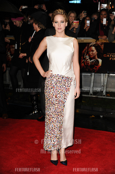 """Jennifer Lawrence arriving for the World Premiere of """"The Hunger Games: Catching Fire"""" in Leicester Square, London. 11/11/2013 Picture by: Steve Vas / Featureflash"""