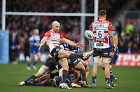 4th January 2020; Kingsholm Stadium, Gloucester, Gloucestershire, England; English Premiership Rugby, Gloucester versus Bath; Willi Heinz of Gloucester kicks from the base of the ruck - Editorial Use
