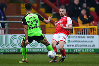 Plymouth Argyle's Zak Vyner challenges Fleetwood Town's Paddy Madden<br /> <br /> Photographer Richard Martin-Roberts/CameraSport<br /> <br /> The EFL Sky Bet League One - Fleetwood Town v Plymouth Argyle - Saturday 10th March 2018 - Highbury Stadium - Fleetwood<br /> <br /> World Copyright &not;&copy; 2018 CameraSport. All rights reserved. 43 Linden Ave. Countesthorpe. Leicester. England. LE8 5PG - Tel: +44 (0) 116 277 4147 - admin@camerasport.com - www.camerasport.com