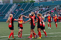 Rochester, NY - Saturday May 21, 2016: The Western New York Flash celebrate a goal. The Western New York Flash defeated Sky Blue FC 5-2 during a regular season National Women's Soccer League (NWSL) match at Sahlen's Stadium.