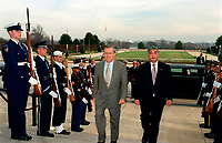Dec. 10, 2001, Washington, DC, United States<br /> <br /> Secretary of Defense Donald H. Rumsfeld (left) escorts the Director General of the Japan Defense Agency Gen Nakatani through an honor cordon and into the Pentagon on Dec. 10, 2001.  The two leaders will meet to discuss issues of mutual interest to both countries<br /> <br /> Mandatory Credit: Photo by DoD photo byHelene C. Stikkel