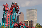 The Mind Eraser roller coaster at Elitch Gardens Amusement Park in downtown's Confluence Park, Denver, Colorado, USA. .  John offers private photo tours in Denver, Boulder and throughout Colorado. Year-round.