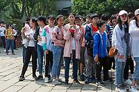 Yangzhou, Jiangsu, China.  Young Chinese in Line to Enter Ho Family House and Garden.