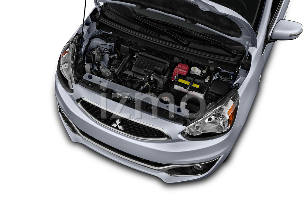 Car Stock 2017 Mitsubishi Mirage SE 5 Door Hatchback Engine  high angle detail view