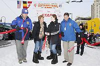 Saturday March 6 , 2010   L to R -  Anchorage Mayor Dan Sullivan  , Dawn Talley , Anna Sadler & Senator Mark Begich cut the ribbon to begin the ceremonial start of the 2010 Iditarod in Anchorage , Alaska