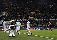 Calcio, Serie A: Roma, stadio Olimpico, 22 ottobre 2017.<br /> Lazio's Jacinto Quissanga Bastos celebrates after scoring with his teammates during the Italian Serie A football match between Lazio and Cagliari at Rome's Olympic stadium, October 22, 2017.<br /> UPDATE IMAGES PRESS/Isabella Bonotto