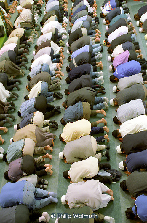 Friday prayers at the East London Mosque in Whitechapel. The mosque is the largest in London