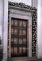 holy Doorin St. Peter's Basilica .Pope Francis Vespri ceremony of the Bull of induction of the Extraordinary Jubilee of Mercy in St. Peter's Basilica at the Vatican, on April 11, 2015.