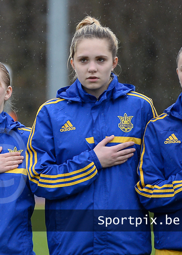 20150404 - FORST , GERMANY  : Ukrainian Stefania Matviishyn pictured during the soccer match between Women Under 19 teams of Belgium and Ukraine , on the first matchday in group 5 of the UEFA Elite Round Women Under 19 at WaldseeStadion , Forst , Germany . Saturday 4th April 2015 . PHOTO DAVID CATRY