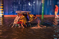 Flooded streets in Manila,Philippines during the annual Monsoon season