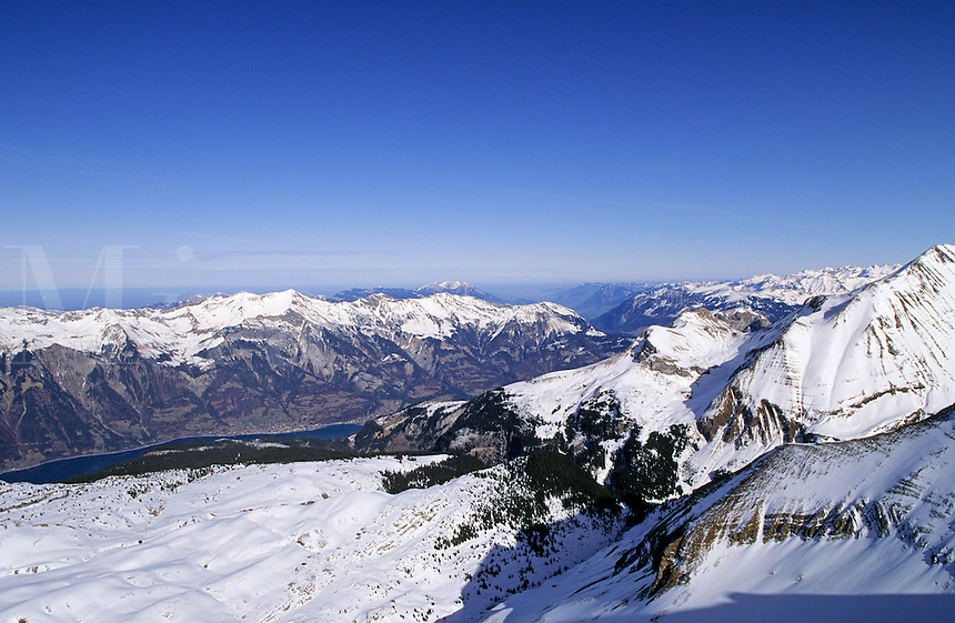 Switzerland. Near Grindelwald. The Brienzersee and Brienz seen from the top of Faulhorn..