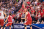 07 MAY: Nick Laffin (23) of Ohio State University goes for a kill against Brigham Young University during the Division I Men's Volleyball Championship held at Rec Hall on the Penn State University campus in University Park, PA. Ohio State defeated BYU 3-1 for the national title. Ben Solomon/NCAA Photos