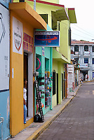 Street lined with shops in Catemaco, Veracruz, Mexico