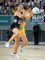 04.09.2016 Silver Ferns Ameliaranne Ekenasio in action during the Netball Quad Series match between the Silver Ferns and Australia played at Margaret Court Arena in Melbourne. Mandatory Photo Credit ©Michael Bradley.