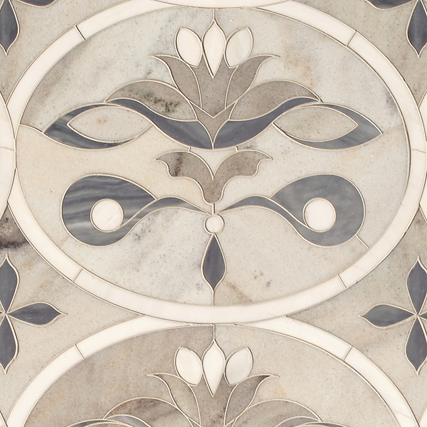 Beatrice Grandiose, a waterjet mosaic shown in honed Angora, Cashmere, Dolomite, and Greystoke, is part of the Liliane™ Collection by Caroline Beaupere for New Ravenna.