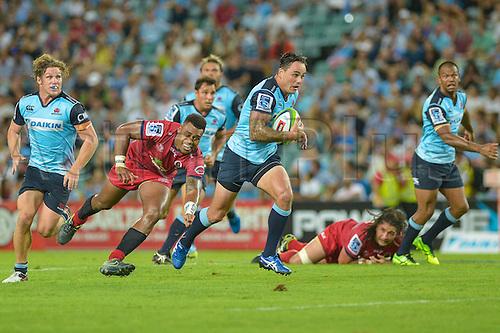 27.02.2016.  Sydney, Australia. Super Rugby. NSW Waratahs versus Queensland Reds. Waratahs winger Zac Guildford makes a break. The Waratahs won 30-10.