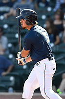 Right fielder Arnaldo Berrios (3) of the Columbia Fireflies bats in a game against the Rome Braves on Sunday, July 2, 2017, at Spirit Communications Park in Columbia, South Carolina. Columbia won, 3-2. (Tom Priddy/Four Seam Images)