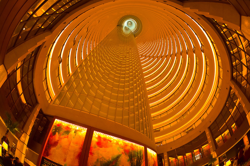The interior courtyard atrium of the Grand Hyatt Shanghai Hotel inside the Jin Mao Tower, Shanghai, China