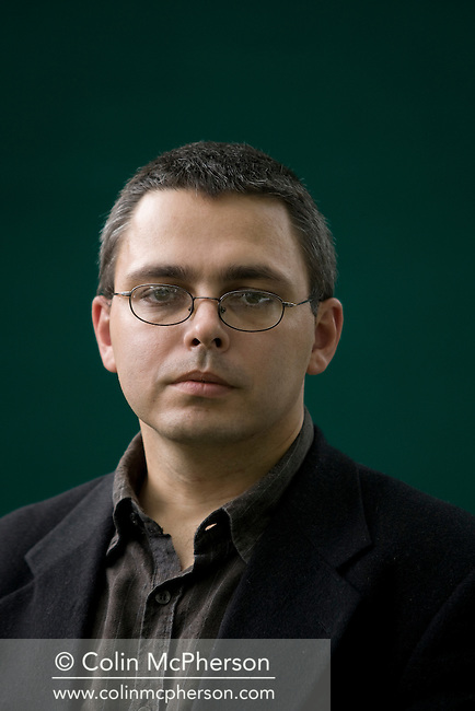 Hungarian writer Gyorgy Dragoman pictured at the Edinburgh International Book Festival where he talked his recent work. The three-week event is the world's biggest literary festival and is held during the annual Edinburgh Festival. 2008 was the Book Festival's 25th anniversary and featured talks and presentations by more than 500 authors from around the world.