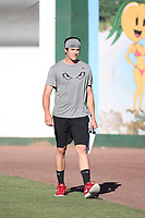 Cal Quantrill (48) of the Lake Elsinore Storm before a game against the Inland Empire 66ers at San Manuel Stadium on April 29, 2017 in San Bernardino, California. Inland Empire defeated Lake Elsinore, 3-1. (Larry Goren/Four Seam Images)