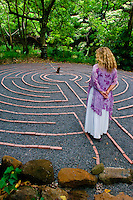 Proprietor Eve Hogan walks the labyrinth at the Sacred Garden of Maliko, Makawao, Maui