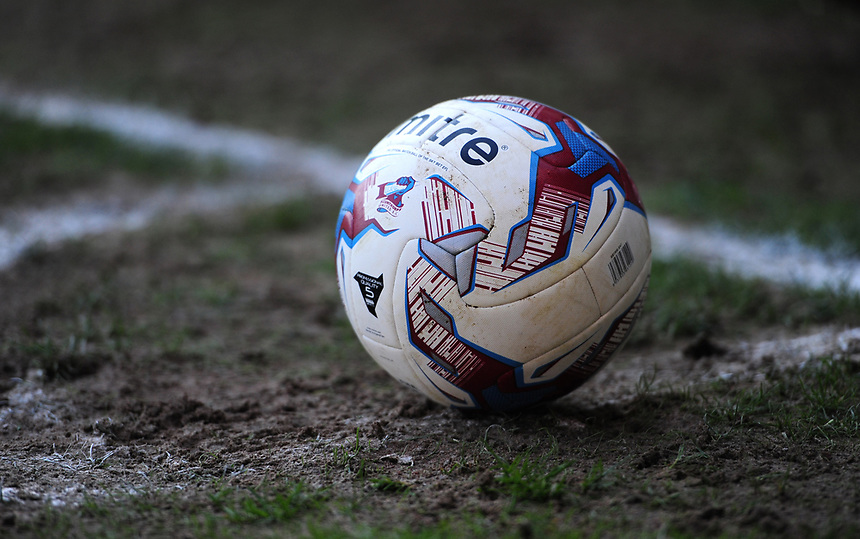 A close up of a Scunthorpe United branded Mitre match football<br /> <br /> Photographer Chris Vaughan/CameraSport<br /> <br /> The EFL Sky Bet League One - Scunthorpe United v Bolton Wanderers - Saturday 8th April 2017 - Glanford Park - Scunthorpe<br /> <br /> World Copyright &copy; 2017 CameraSport. All rights reserved. 43 Linden Ave. Countesthorpe. Leicester. England. LE8 5PG - Tel: +44 (0) 116 277 4147 - admin@camerasport.com - www.camerasport.com