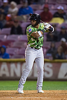 Eugene Emeralds right fielder Jonathan Sierra (22) at bat during a Northwest League game against the Salem-Keizer Volcanoes at Volcanoes Stadium on August 31, 2018 in Keizer, Oregon. The Eugene Emeralds defeated the Salem-Keizer Volcanoes by a score of 7-3. (Zachary Lucy/Four Seam Images)