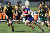 Liam Fitzsimons makes a run through the midfield. Counties Manukau Premier Counties Power Game of the Week Club Rugby Round 4 game between Pukekohe and Ardmore Marist, played at Colin Lawrie Fields Pukekohe on Friday March 30th 2018.<br /> Ardmore Marist won the game 27 - 21 after leading 13 - 11 at halftime.<br /> Pukekohe Mitre 10 Mega 21 -Trent White, Samu Pailegutu tries, Sione Fifita conversion, Sione Fifita 2, Vilitati Sabani penalties. Ardmore Marist South Auckland Motors 27 - Katetistoti Nginingini, Karl Ropati, Alefosio Tapili tries, Latiume Fosita 3 conversions, Latiume Fosita 2 penalties. <br /> Photo by Richard Spranger.