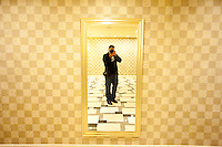 Self-portrait in the bathroom at the Hilton of the Americas, 2015
