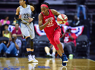 Washington, DC - May 27, 2018: Washington Mystics guard Shatori Walker-Kimbrough (32) drives to the basket after stealing a pass from Minnesota Lynx forward Maya Moore (23) during game between the Mystics and Lynx at the Capital One Arena in Washington, DC. (Photo by Phil Peters/Media Images International)