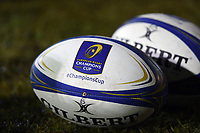 A general view of European Rugby Champions Cup branded balls. European Rugby Champions Cup match, between Bath Rugby and the Scarlets on January 12, 2018 at the Recreation Ground in Bath, England. Photo by: Patrick Khachfe / Onside Images