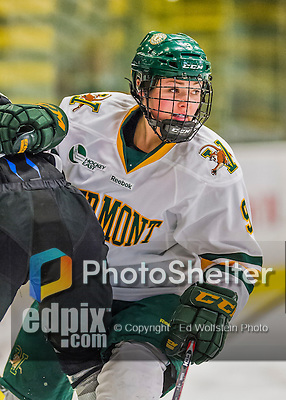 1 February 2015: University of Vermont Catamount Forward Dayna Colang, a Junior from Fairbanks, Alaska, in second period action against the visiting Providence College Friars at Gutterson Fieldhouse in Burlington, Vermont. The Lady Cats defeated the Friars 7-3 in Hockey East play. Mandatory Credit: Ed Wolfstein Photo *** RAW (NEF) Image File Available ***
