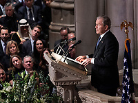 December 5, 2018 - Washington, DC, United States: Former President George W. Bush provides a eulogy at the state funeral service of his father, former President George W. Bush at the National Cathedral. <br /> Credit: Chris Kleponis / Pool via CNP / MediaPunch