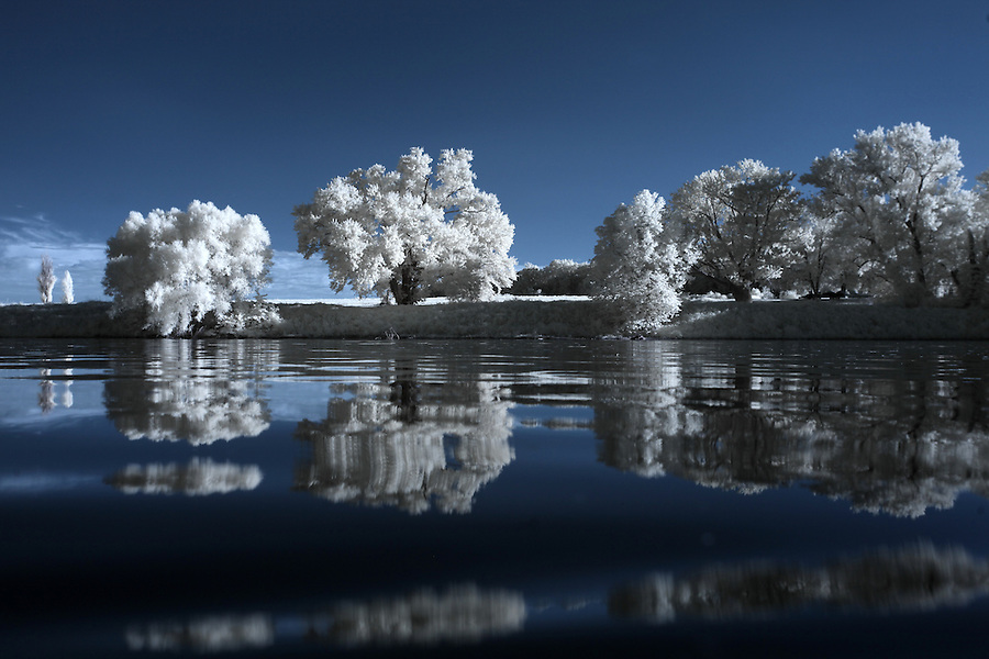 The James River photographed in infrared looking towards Buckingham County, Va. Photo/Andrew Shurtleff