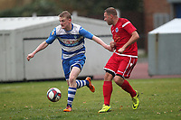 Ellis Lentell of Ilford and James Peagram of Walthamstow during Ilford vs Walthamstow, Essex Senior League Football at Cricklefields Stadium on 6th October 2018