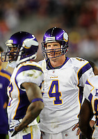 Dec 6, 2009; Glendale, AZ, USA; Minnesota Vikings quarterback (4) Brett Favre against the Arizona Cardinals at University of Phoenix Stadium. The Cardinals defeated the Vikings 30-17. Mandatory Credit: Mark J. Rebilas-