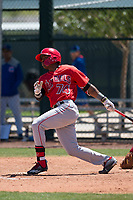 Los Angeles Angels outfielder Jose Verrier (74) follows through on his swing during an Extended Spring Training game against the Chicago Cubs at Sloan Park on April 14, 2018 in Mesa, Arizona. (Zachary Lucy/Four Seam Images)