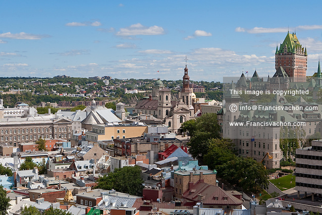 The old-town district is seen in Quebec city August 26, 2009. In this photo can be seen the Hotel Chateau Frontenac, the City Hall and the Basilique-Cathedrale Notre-Dame-de-Quebec.