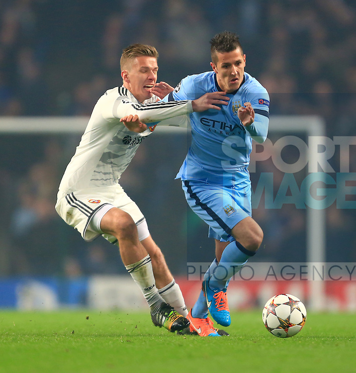 Stevan Jovetic of Manchester City skips past a challenge from Pontus Wernbloom of CSKA - Manchester City vs. CSKA Moscow - UEFA Champions League - Etihad Stadium - Manchester - 05/11/2014 Pic Philip Oldham/Sportimage