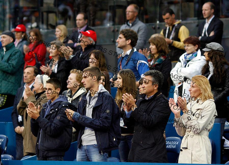Tenis, Serbia Open 2011.Final.Novak Djokovic (SRB) Vs. Feliciano Lopez (ESP).from left, Djordje Djokovic, Marko Djokovic, Srdjan Djokovic and Dijana Djokovic, during ceremony.Beograd, 01.05.2011..foto: Srdjan Stevanovic